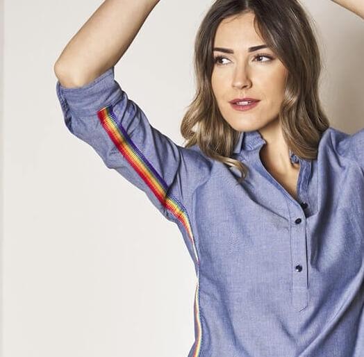 Annalise Chambray Shirt with Rainbow Stripe